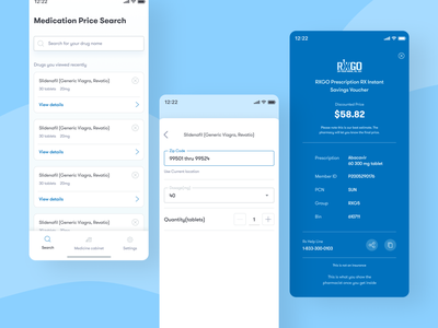 RXGO mobile app search price medication coupons coupon code coupon drugs details page pharmacy app pharmaceutical pharmacy mobile app mobile app design dailyui