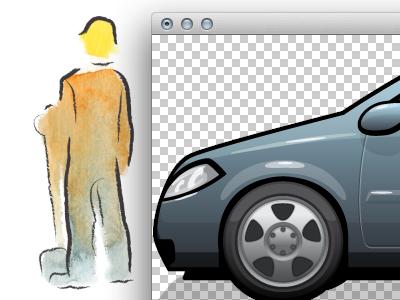 Contrast illustration vector psd car worker