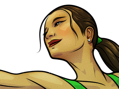 Stretch illustration vector psd head woman