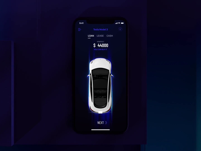 Process of buying a car ai iphone application concept motion animation ios car tesla