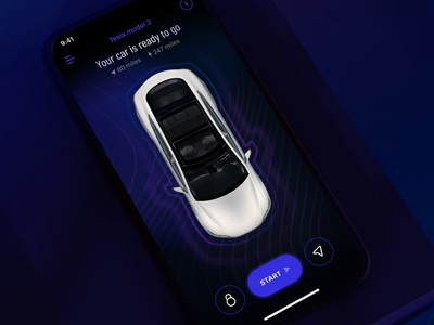 Buying a car process delivery map iphone ai motion application concept ios car tesla