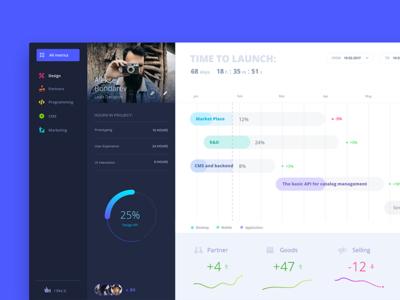 Blue progress dashboard 💎 account metrics dashboard digital sketch data analytic interface user experience user interface ux graph ui web stats