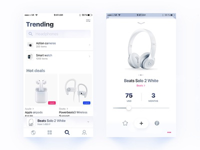 Add to cart 🎧 ➡ 🛒 ecommerce white ui ux user interface user experience interface flow market place digital mobile design hig