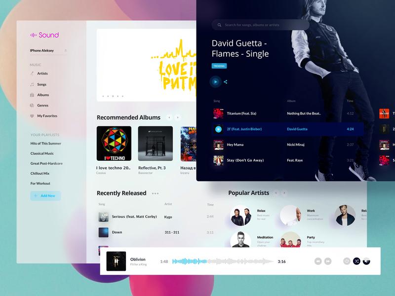 Music player web design music app application