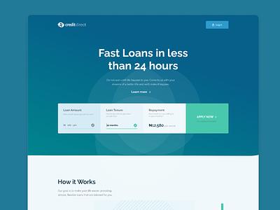 Credit Direct Loan Application figma ux ui uiux loan header website landing page product app ui design
