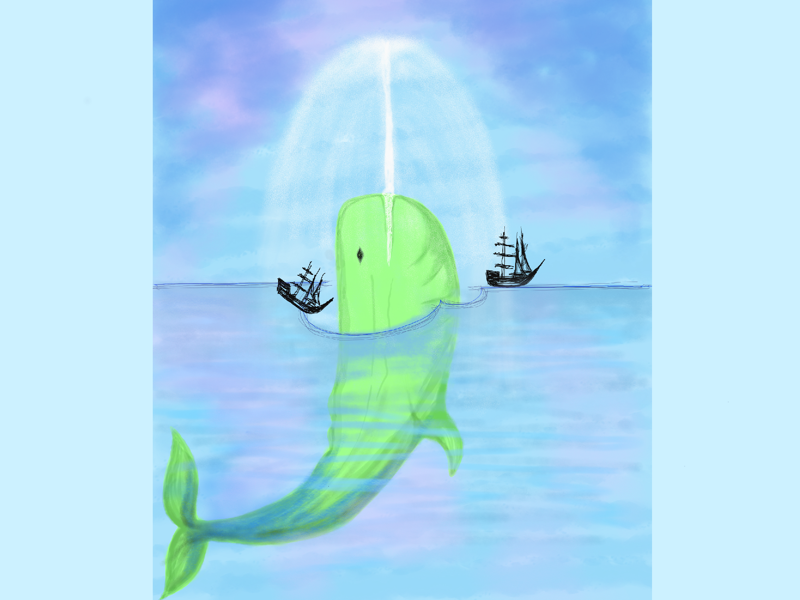 Moby Dick or the whale water book sketchbook pro blue green ship whale