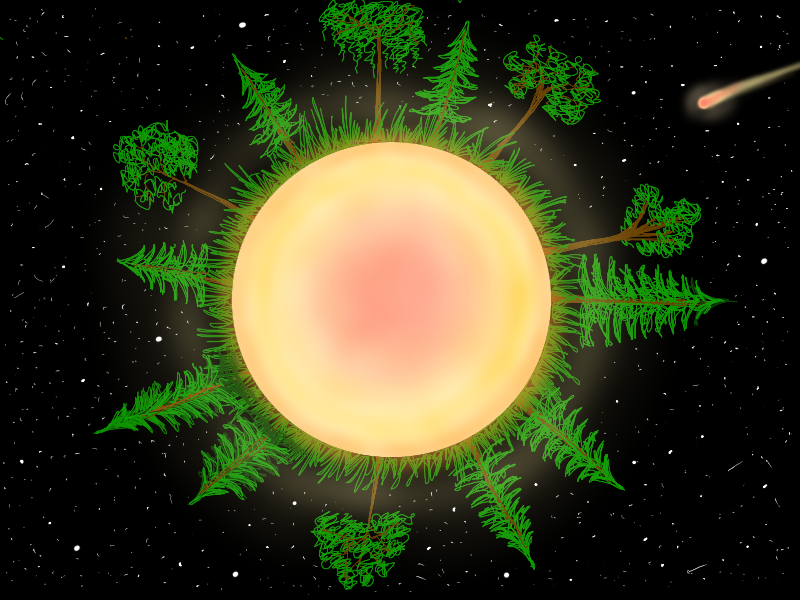 Dawn of the planet! meteor core yellow trees pine stars universe galaxy planet sketchbookpro