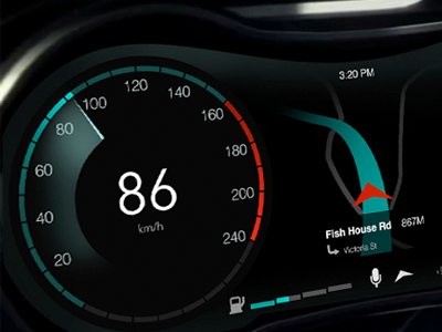 Digital Car Dashboard in-car dashboard navigation speedometer digital car ux ui