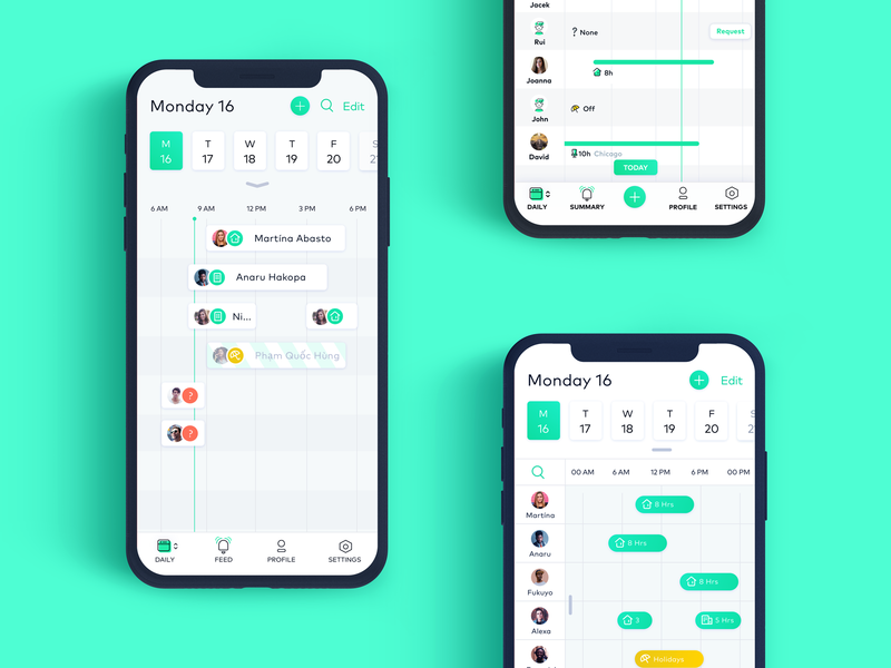 Different attempts of the same thing... ux ui mobile app time ux design ios iphone flex schedule calendar mobile app ux ui design simple clean