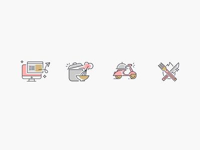Choose, Cook, Deliver,  Heat & Eat website desktop select scooter knife fork eat cook deliver delivery heat meal iconography icons design icon set icon icons design illustration clean
