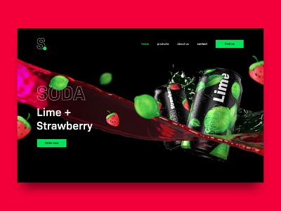 Soda – Web design lime beverage landingpage website photoshop adobedimension dimension 3dcan can soda 3d graphicdesign uiux herosection webdesign branding adobexd web ui design