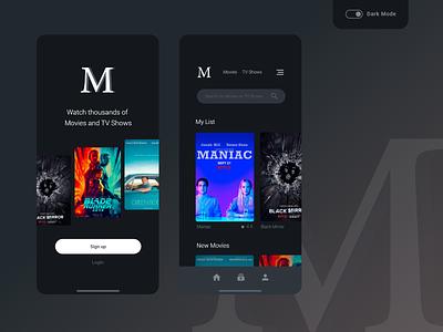 Movie - Mobile App Design Concept dark ui dark mode movie app movie ux application design phone smartphone mobile application app web adobexd design ui