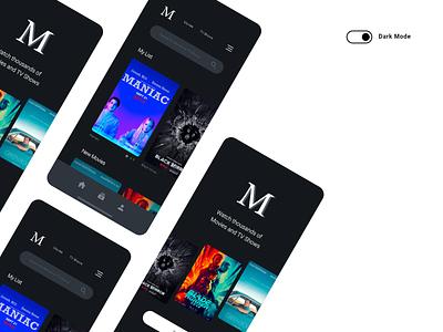 Mobile App Concept – Dark Theme 2/2 mobile application black dark darktheme user interface design design movie app mobile app mobile ui uiux ui adobe xd adobe experience design