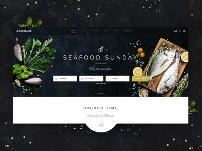 Gourmand - Seafood Home restaurant blog cooking dinner drink food open table cuisine food blog sea food modern chef confectionary cooking blog menu card recipe wordpres ux  ui webdesig graphic  design