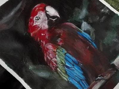 Primer cuadro a acrílico. Guacamayo acrílico pintura
