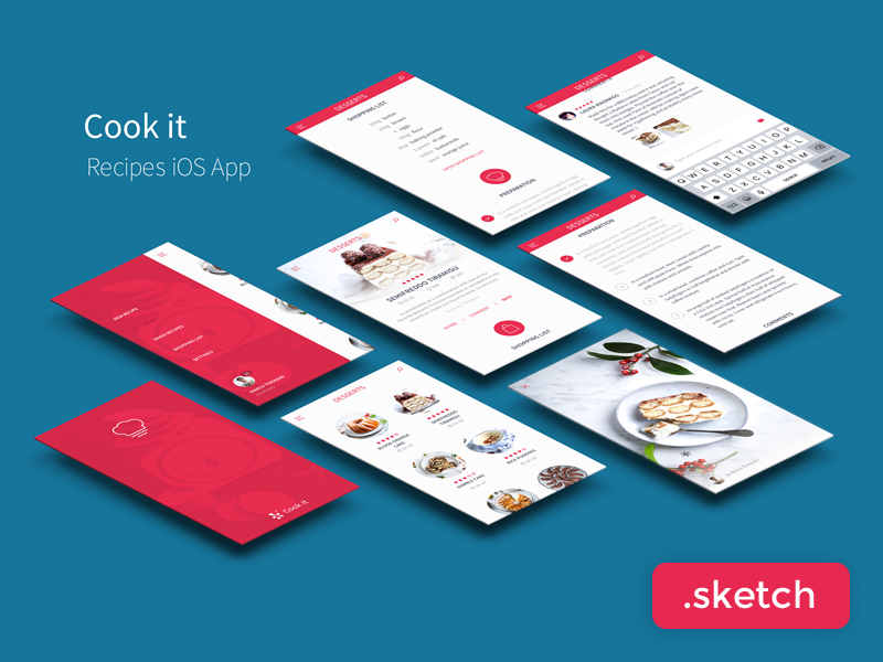 Recipes App UI Kit Freebie  ios flat clean minimal app ux-design ui-design sketch free freebie ui-kit
