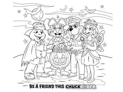 Chucktober Halloween Coloring Page