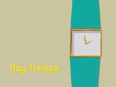 There's Time. watch turquoise gold español reloj sketches vector