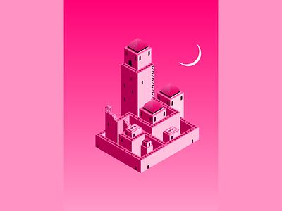 Arabian Nights temple buildings pink moon game monument valley isometric illustration arabian