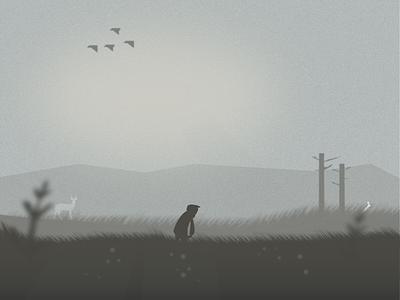 Gloomy Contemplations landscape illustration depressing sad blurry fields landscape design art landscape