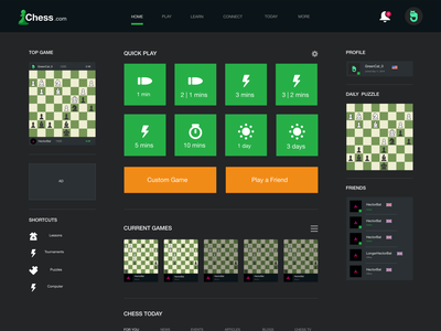 Chess.com Home mockup app illustration branding design home screen friends intuitive quick clean homepage uiux redesign chess website home