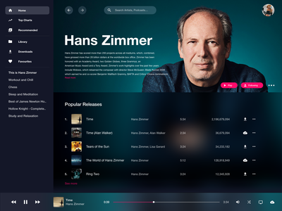 Desktop Music App computer desktop ui ux hans zimmer spotify branding uiux app music