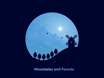 Mountains and Forests sun mist clouds bird circle blue illustration hills skies snow nature mountains trees