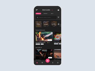 Delivery App neon pink branding logo animation website app delivery food design ux ui