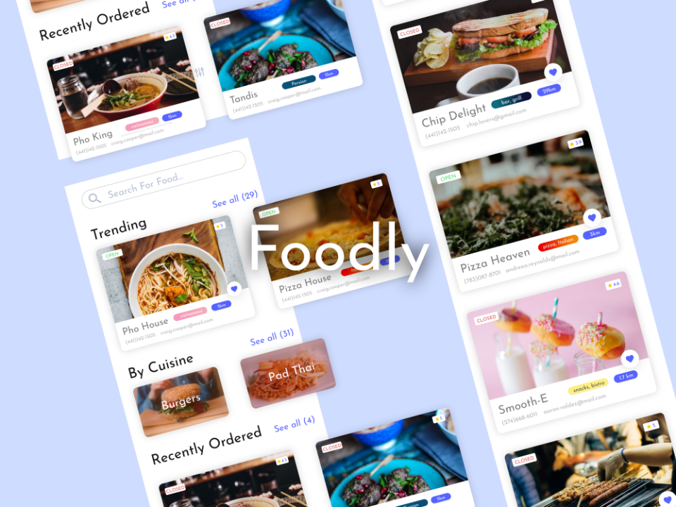 Foodly Thumb phone design app uidesign uiux thumbnail