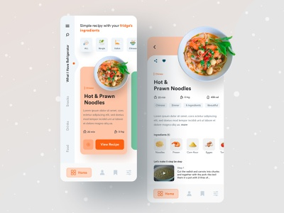 Let's Cook | What you have in your Fridge. ingredient design typography creative anupdeb userinterface ux ui minimal food app navigation food app creative design mobile app modern ui cooking recipe app recipe mobile