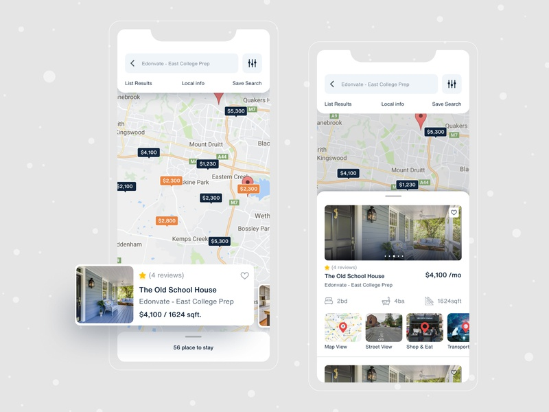 Home Search (iOS) ui ux modern map view ui google maps anupdeb dribbble best shot minimal mobile app design mobile application mobile app mobile