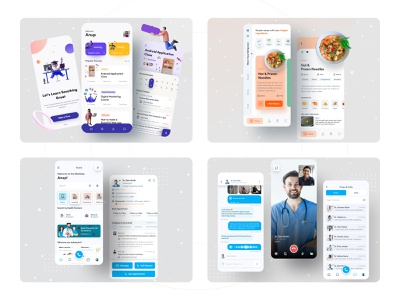 Minimal Apps 2020 ux anupdeb modern minimal mobile app minimal app all in one app medical app medihelp messaging app messanger learning app recipe app recipe ios mobile apps mobile mobile app