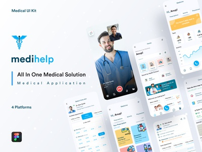 Medihelp Case Study || UI kit app design creative ux ui all medical solution home delivery app hiring apps order medicine hire ambulance grapeslab team medihelp app anupdeb medical application