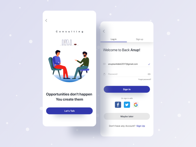 Consulting Firm Sign in Interface best design illustration creative web userinterface interaction interface sign in onboarding freelancer anupdeb uinugget consultancy consulting ui best shot typogaphy mobile app apps clean