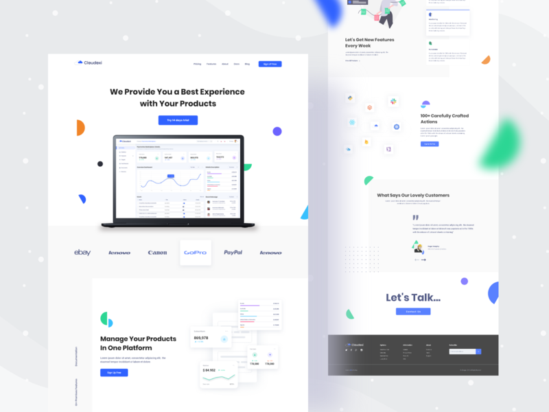 Cloudoxi Product Landing page webdeisgn appstore freelancer clean design singlepage product uinugget cloudoxi new design website dribbble best shot product landing page webdesign landing ux anupdeb typography creative ui