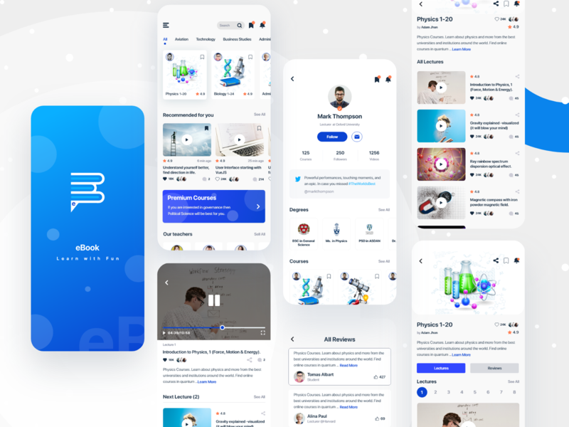 eBook Mobile App. (Learn with Fun) clean branding uinugget product design drbbble app ui apps screen learning platform app design application ebook ux typography anupdeb creative video learning app ui mobile app apps