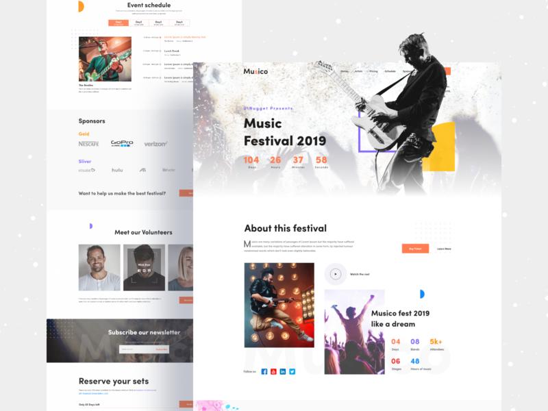 Musico Event Landing musician music webdesign new design product design dribbble best shot freelancer website uinugget ux anupdeb typography ui creative music app event landing