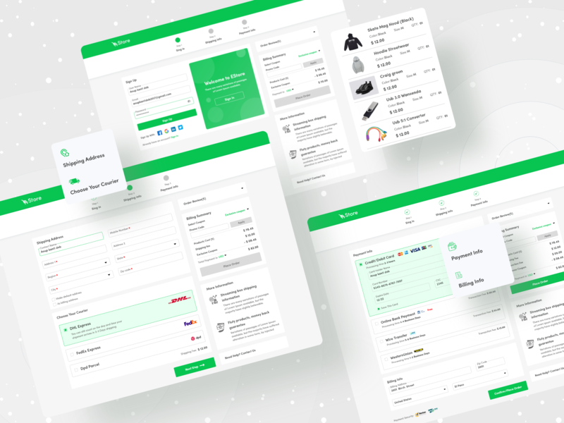 Estore Check Out Process Case study freelancer uidesign web design website uinugget step by step sign in signup user interface typography anup ecommerce app ecommerce checkout creative ui design ux design casestudy ux ui