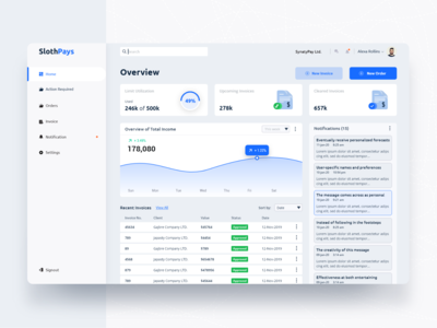 Slothpays Startup's Dashboard.