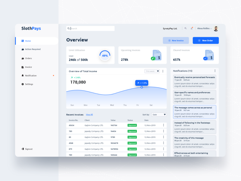 Slothpays Startup's Dashboard. payment transition wallet web design product design new design web app popular design account finance app user panel web application design app design dashboard ui user interface user experience design startups product designs dashboard design dashboard