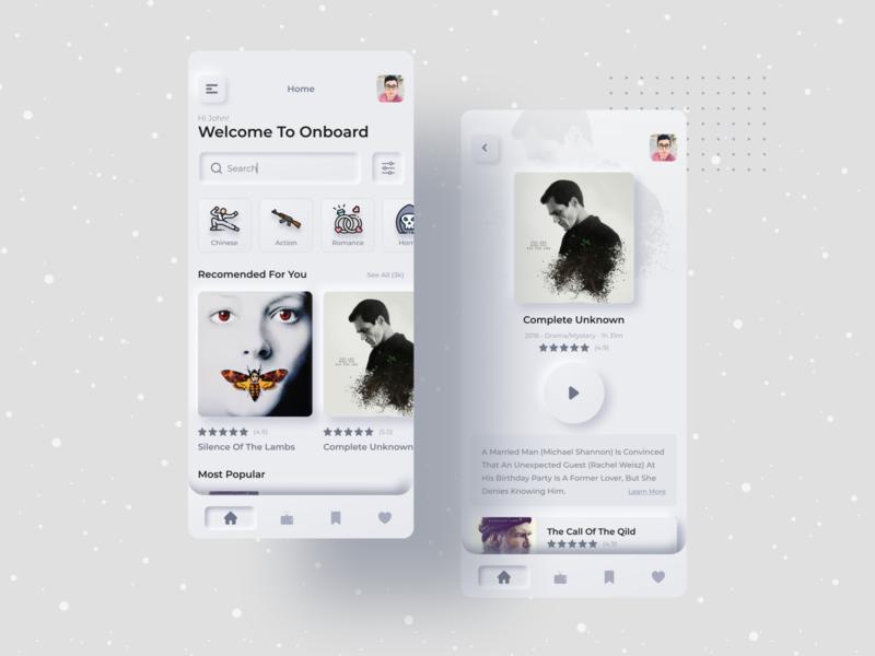 Movie-App UI Concept ios morden application video ux ui typography creative anupdeb mockup freelancer minimal app design minimal ui new concept mobile ui movie app mobile