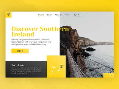 Travel Inspiration Landing Page grid interface concept typography design ux ui landing page inspiration travel
