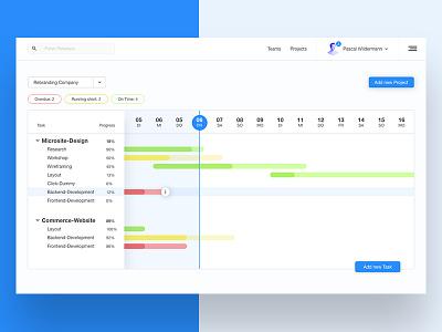 Project Management Tool – Concept dashboard team planning time app interface ui gantt management project