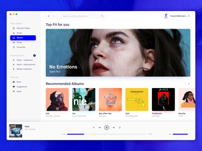 Music App website typography dashboard layout interface design ux ui music artwork player app music