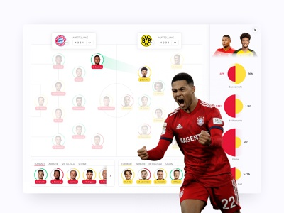 Matchup-Comparison UI stats sketch design infographic ux ui statistics dashboard interface clean player lineup matchup soccer football