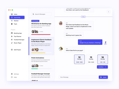 Project-Communication-Dashboard task mail website sketch interface design concept clean ux ui dashboard chat communication project
