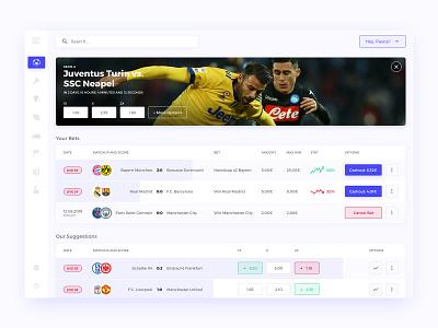 Sporting Bets Dashboard webapp website ux sketch interface design dashboard concept clean ui football soccer bet sport