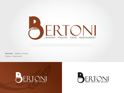 Bertoni Approved Logo restaurant cafe pastry brown logo food logo logo design logo branding b logo wheat bakery logo
