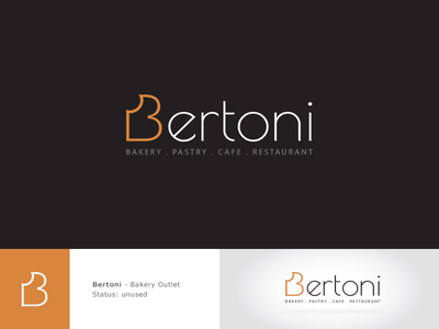 Bertoni 2nd Logo Option simple logo bakery logo wheat b logo branding logo logo design food logo brown logo pastry cafe restaurant