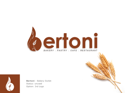 Bertoni 3rd Logo Option restaurant cafe pastry brown logo food logo logo design branding b logo wheat bakery logo bertoni wheat grains